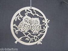 OWL British Woodland Animals Hanging Decoration 8 x 8cm Wood