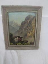 schönes Gemälde einer Hütte in den Alpen  !