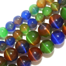 CATS EYE BEADS 4MM ROUND CATSEYE 18 COLORS GREEN GOLD RAINBOW BLACK PINK STRAND