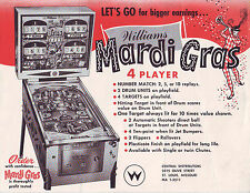 WILLIAMS MARDI GRAS 1962 ORIGINAL PINBALL MACHINE ADVERTISING SALES FLYER