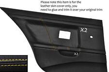 YELLOW STITCH 2X REAR DOOR CARD LEATHER COVERS FITS BMW E36 SALOON SEDAN 91-98