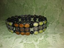 Silver Tone Metal Stretch Bracelet Handmade Coppers and Creams Enamel and
