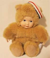 """New Listing Anne Geddes Tan Plush Baby Doll in Teddy Bear Costume Wearing Sailor Hat 6"""""""