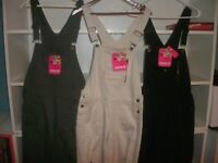 "Ladies ""Zana.di"" jean denim bib overalls size M, Green, Black or Khaki (B263)"
