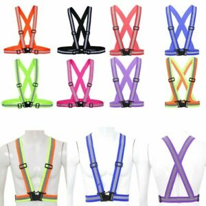 1Pc_Reflective Safety Belt Vest Adjustable High Visibility for Run Walk Bicycle