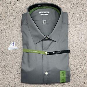(IK) Van Heusen Mens Dress Shirt Big Fit Pocket No Iron Lux Sateen Casual SZ 19