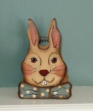 Vintage Style Painted Wood Easter Rabbit Basket Primitive Style - EUC