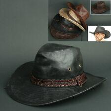 Cowboy COW N BLACK Trilby BUCKET CAP Vintage Leather Style Sun Visor HAT  Unisex 1af402ca97a5