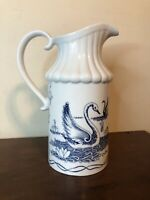 Asian Porcelain Blue & White Decorative Pitcher Vase Swans Birds 8.5""