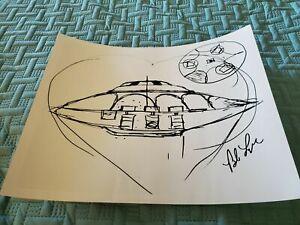 Bob Lazar Sport Model Sketch UFO Area 51 Print Signed Autograph New FREE SHIP