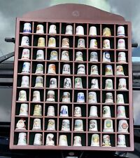 More details for x72 vintage porcelain thimbles, all with designs, all housed on a wall display!!