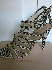 LOEFFLER RANDALL 'Paige' Mesh & Suede Zebra Print Criss-Cross Sandals Heels 9 B