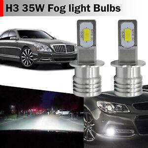 2pcs H3 LED Fog Light Bulbs Conversion Kit OEM Upgrade Canbus Lamp 35W 6000K