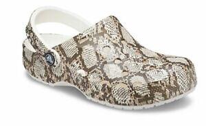 NEW Womens Crocs Baya Snakeskin Printed Clog Shoes, size 10           mushroom