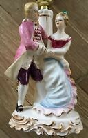 Vtg Bedside Table Lamp Dancing Couple Porcelain Hand Painted Made in Japan 10""