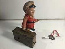 Vintage Alps Tin Clockwork Toy 1940's Boy Carrying Suitcase With Key & Working