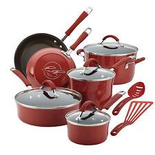 Rachael Ray 16339 Cookware Set, 12-Piece, Cranberry Red Rachel Ray Pots