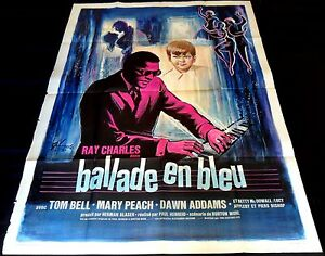 1964 Ballad in Blue ORIGINAL French 1p POSTER Ray Charles ARTWORK By Grinsson