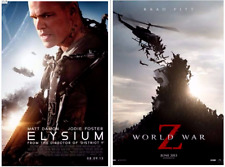 Lot of 2 Movie Theater Double Sided Posters ELYSIUM (Damon) & WORLD WAR Z (Pitt)