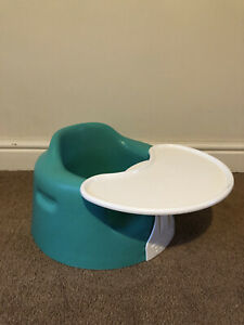 Green Turquoise Bumbo baby seat with detachable Play and snack Tray . Used GC