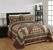 "4 Piece QUEEN ""PLYMOUTH"" Quilted Bedding SET ~ Country, Primitive***NEW"