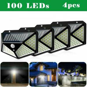4X 100LED Solar Power PIR Motion Sensor Wall Lights Outdoor Garden Security Lamp