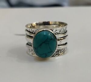 Turquoise Ring Spinner Ring 925 Silver Plated Ring Handmade Ring Size 7.5 mo05