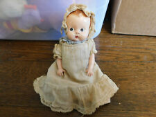 "Vtg dressed Jointed 7"" Shiny Hard Plastic Baby Doll in Muslin Gown Dress bonnet"