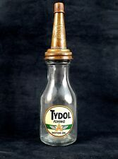 TYDOL FLYING A MOTOR OIL QUART GLASS BOTTLE with METAL SPOUT & CAP Fill To Line