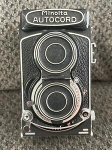 Minolta Autocord Rokkor 75mm f3.2 w/Leather Case Japan TESTED *Focus is Jammed
