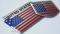 3D Metal American Flag Sticker Decal Emblems For Auto, Truck, Bike (Bundle Pack)