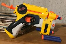 "Nerf Laser Sight Pull Back Battery Operated Dart Shooter For Kids Used 10""x7"""