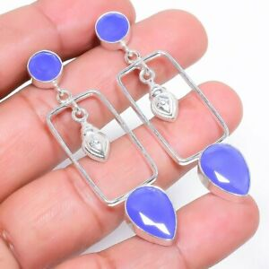 "Blue Onyx Gemstone Handmade Ethnic Silver Jewelry Earring 2.3"" RE789"