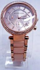 "Michael Kors MK5896 Rose Gold Tone Analog Watch Size 7 1/4"" Used"