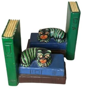 """Vintage Folk Art Cat Bookends Hand Painted Wooden 9"""""""