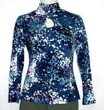 Cable & Gauge Womens Top Blue Printed Long Sleeve Keyhole Jersey Pullover Size M