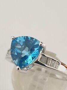 ❤JAYNES GEMS  3CT TRILLION CUT SWISS BLUE TOPAZ & DIAMOND RING  UK R US 8.5 EU 5
