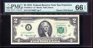 1976 $2 Federal Reserve **STAR** Note San Francisco #L01710007* PMG 66EPQ