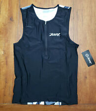 Zoot Mens XL Tri Tank Performance Top Black Camo Compression Triathlon Shirt