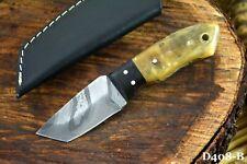 Damascus Steel Skinning Tanto Hunting Knife Handmade, Rams Horn Handle (D408-B)
