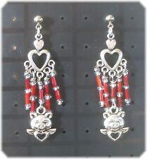 Tibetan Silver Angel Pig Red Dangle Earrings Made in the USA -boar/hog/heart