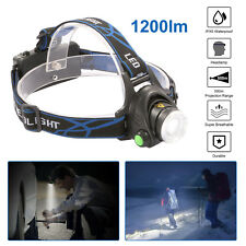 Head Torch 6000Lm T6 Zoomable Cree XML LED Rechargeable Headlamp Headlight US