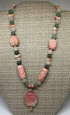 VF Carved China angel skin Natural CORAL & Jade beaded NECKLACE 14k clasp Exc NR