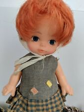 Vintage Plastic Red Head Little Girl Doll with Handkerchief-Hong Kong