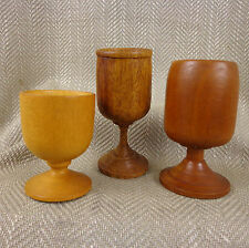 3 Wooden Cup Goblet Chalice Hand Made Craft  Stem Exotic Wood Turned Treen