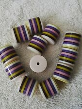 20 Large Stripy Beads 1960 Style Size 20 x 20mm For Craft and Jewellery