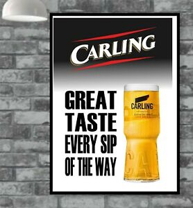 Carling Lager Black Label Poster Picture Vintage Wall Man Cave Bar  (TP328)