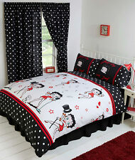 SUPER KING SIZE DUVET COVER SET BETTY BOOP SUPERSTAR BLACK WHITE RED LIPS HEARTS