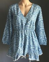 FOXY MUMMA Boho Festival Chambray Floral Print Long Sleeve Playsuit Plus Size 14