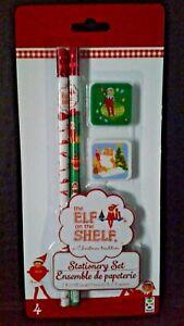 The Elf On The Shelf 4 Piece Christmas Stationery Set 2 Pencils 2 Erasers Elves